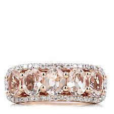 1.25ct Morganite & 0.24ct Diamond 5 Stone Ring 9ct Rose Gold