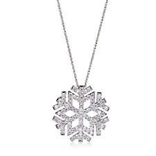Diamonique 1.8ct tw Snowflake Brooch & 41cm Chain Sterling Silver