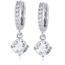 Diamonique 1.6ct tw Hoop Drop Earrings Sterling Silver