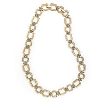 Princess Grace Collection Simulated Peridot & Diamond 41cm Necklace