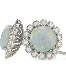 Diamonique 0.2ct tw Opal Stud Flower Earrings Sterling Silver