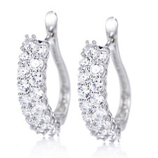 Diamonique 3.4ct tw Double Row Huggie Earrings Sterling Silver