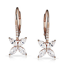 Michelle Mone for Diamonique 2ct tw Marquise Flower Earrings Sterling Silver