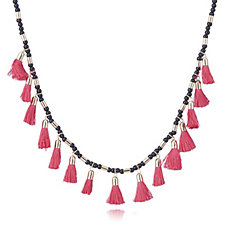 French Connection Multi Tassel Beaded 102cm Necklace