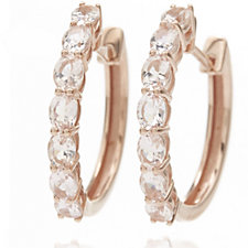 2ct Morganite Premier Huggie Earrings 9ct Rose Gold