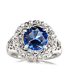 Princess Grace Collection Simulated Sapphire & Diamond Ring