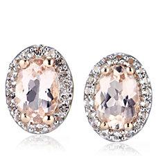 0.82ct Morganite Halo Stud Earrings Sterling Silver Rose Gold Vermeil