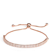 Diamonique 2.5ct tw 2 Row Tennis Slider Bracelet Sterling Silver