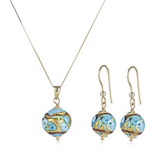 Murano Glass Premium Millerose Earring & Necklace Set 9ct Gold
