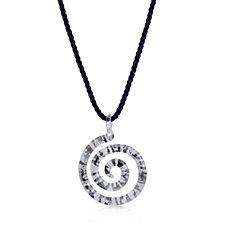 Murano Glass Spiral Pendant & 45cm Cord Sterling Silver