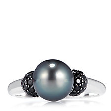 9-10mm Cultured Round Tahitian Pearl Ring with Spinel Sterling Silver