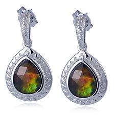 Canadian Ammolite Triplot Teardrop Faceted Drop Earrings Sterling Silver