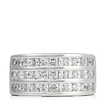 Diamonique 2.3ct tw Princess Cut Band Ring Sterling Silver