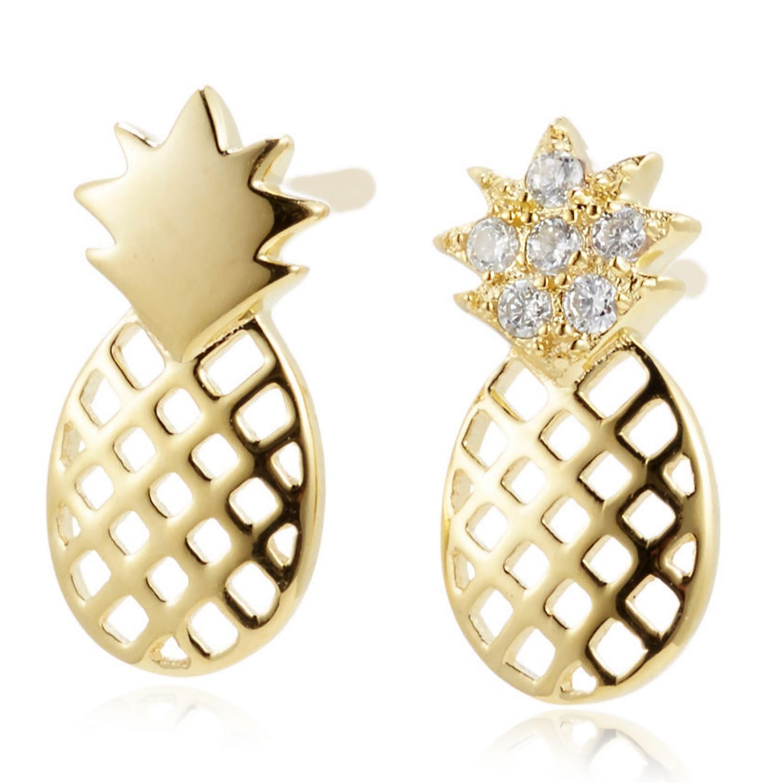 sterling qvc tw product diamonique silver earrings uk stud pineapple