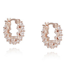 Diamonique 1.9ct tw Mini Glamour Hoop Earrings Sterling Silver