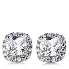 Diamonique 2.8ct tw Double Halo Stud Earrings Sterling Silver