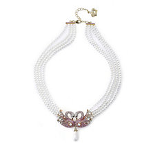 Butler & Wilson Crystal Swan Faux Pearl 45cm Necklace