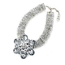 Butler & Wilson Single Flower Faceted Crystal Pendant & 43cm Chain