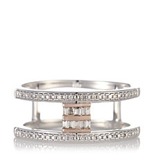 Lisa Snowdon Diamond Row Baguette Ring Rose Gold Vermeil Sterling Silver