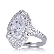 Diamonique 5.6ct tw Marquise Cocktail Ring Sterling Silver