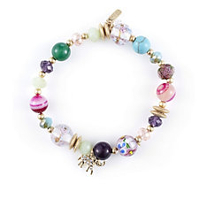Lonna & Lilly Multi Bead Tassel Stretch Bracelet