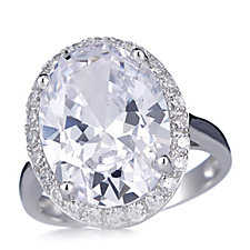 Michelle Mone for Diamonique 10ct tw Halo Oval Ring Sterling Silver