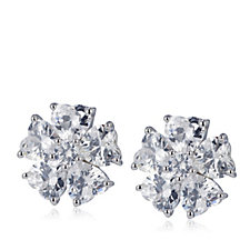 Diamonique 2ct tw Flower Heart Cut Stud Earrings Sterling Silver
