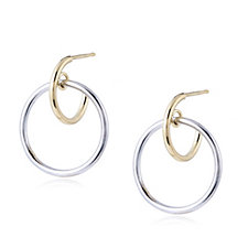 9ct Gold Bi Colour Linked Hoop Earrings