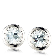 0.72ct Aquamarine Bezel Set Stud Earrings Sterling Silver