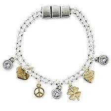 Bibi Bijoux Layered Sparkle Charm 17.5cm Bracelet w/ Magnetic Clasp