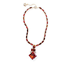 Butler & Wilson Art Deco Style Square Shape Drop Crystal 43cm Necklace
