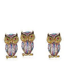 Butler & Wilson Crystal Owl Earrings & Pin Set