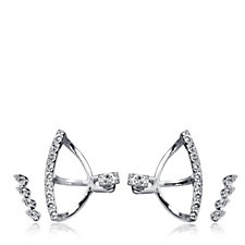 Pilgrim Crystal Ear Climber & Jacket Earring Set