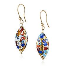 Murano Glass Mosaico Elongated Drop Earrings Sterling Silver