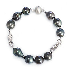 11-12mm Cultured Tahitian Pearl Bracelet with Magnetic Clasp Sterling Silver