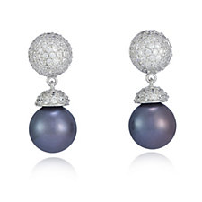 Diamonique by Tova 1.6ct tw Honora Cultured Pearl Earrings Sterling Silver