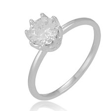 Diamonique 1.1ct tw Solitaire Ring Sterling Silver
