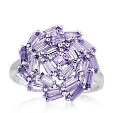 2.5ct Amethyst Cluster Ring Sterling Silver