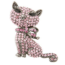 Butler & Wilson Round & Marquise Pave Set Crystal Cat Brooch