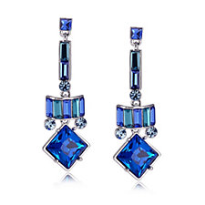 Butler & Wilson Art Deco Style Square Crystal Drop Earrings