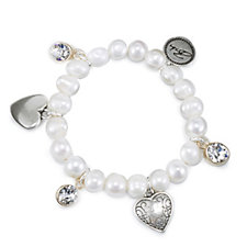 Bibi Bijoux Cultured Fresh Water Pearl Stretch Charm Bracelet