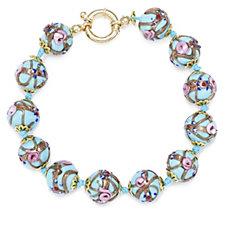 Murano Glass Premium Fiorato 20cm Bracelet Sterling Silver