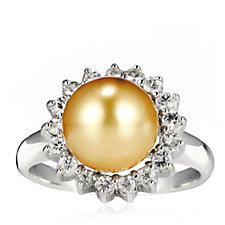 10-11mm Cultured Golden South Sea Pearl Ring w/ White Sapphire Sterling Silver