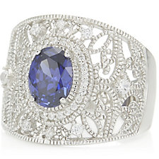 Diamonique by Tova 1.7ct tw Simulated Tanzanite Ring Sterling Silver