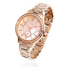 Diamonique 1ct tw Mother of Pearl Circle Dial Watch