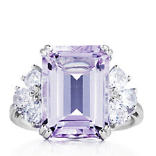3.8ct Amethyst Octagon Faceted White Topaz Ring Sterling Silver