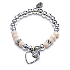 Bibi Bijoux Faceted Bead Heart Charm Bracelet