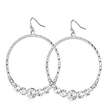 Loverocks Crystal Drop Hoop Earrings