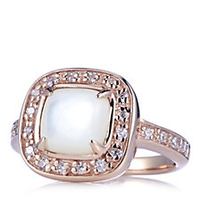 Diamonique 0.6ct tw Mother of Pearl Ring Sterling Silver