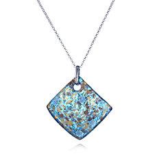Murano Glass Giardino Tile Pendant & Belcher Chain Sterling Silver